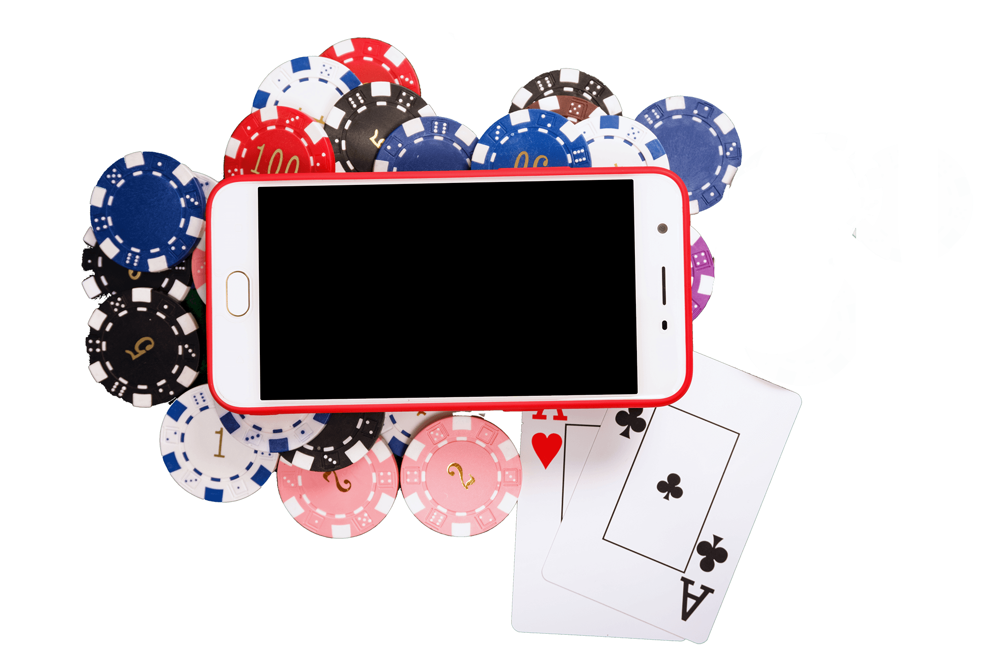 An image of mobile phone with blackjack